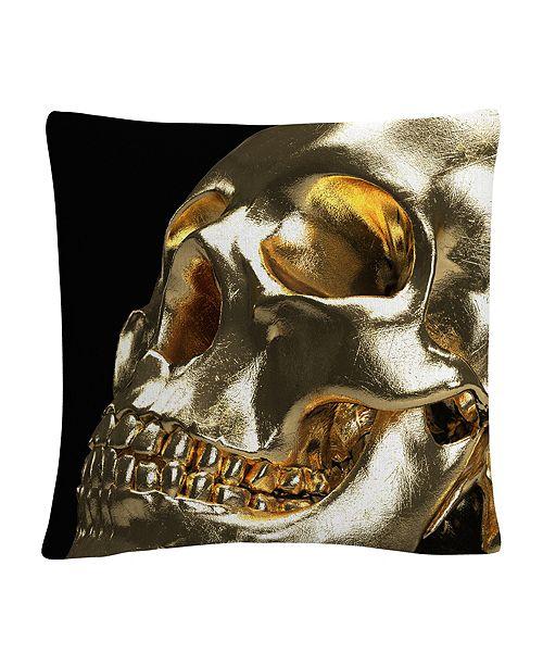 "Baldwin Modern 3D Gold Skull 16x16"" Decorative Throw Pillow by ABC"