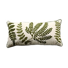 White Rectangle Pillow with Embroidered Green Ferns