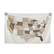 Stitched USA Map Wall Décor