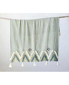 Mint Green Throw w/Plush White and Blue Accents
