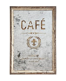"""Antiqued """"Café"""" Framed Mirror"""