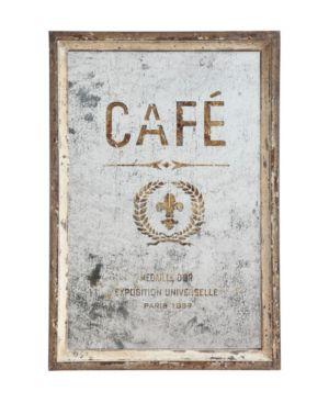 """Image of Antiqued """"Cafe"""" Framed Mirror"""