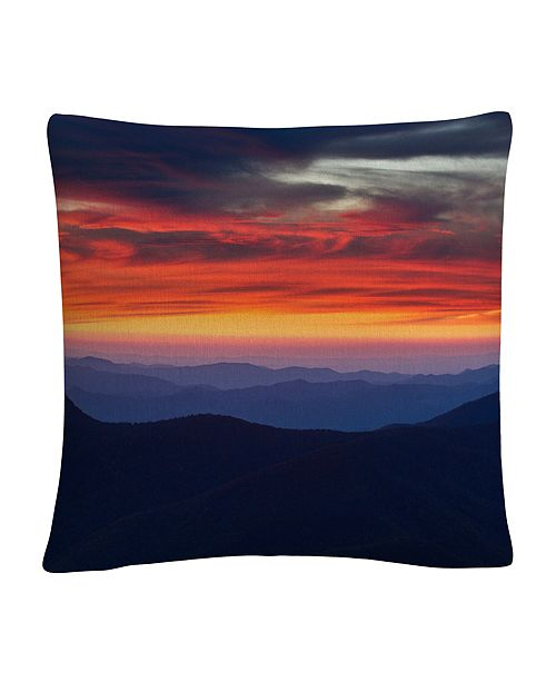 """Baldwin Mount Mitchell Sunset Red Cloudy Photographic 16x16"""" Decorative Throw Pillow by Pierre Leclerc"""