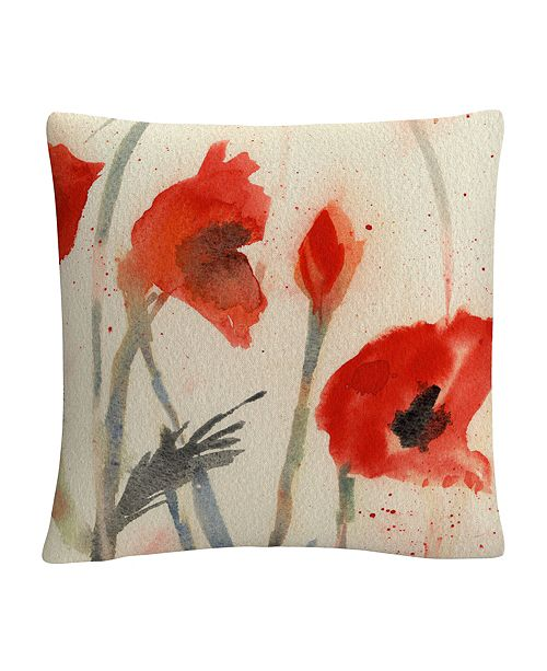 "Baldwin Red Poppy Light Floral Abstract 16x16"" Decorative Throw Pillow by Sheila Golden"