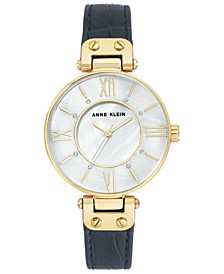 Women's Navy Leather Strap Watch 34mm