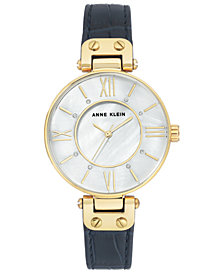 Anne Klein Women's Navy Leather Strap Watch 34mm