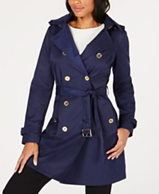 MICHAEL Michael Kors Belted Double-Breasted Hooded Trench Coat