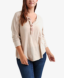 Lucky Brand Trendy Plus Size Cotton Ruffled Henley Top