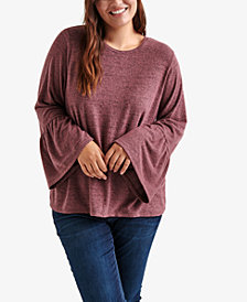 Lucky Brand Trendy Plus Size Bell-Sleeve Top