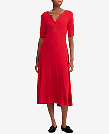 Lauren Ralph Lauren Waffle-Knit Cotton Midi Dress