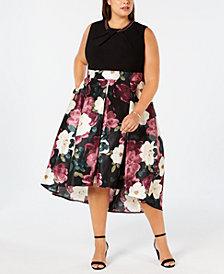 SL Fashions Plus Size Printed-Skirt Fit & Flare Dress