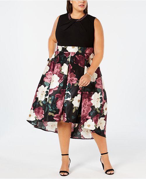 SL Fashions Plus Size Printed-Skirt Fit & Flare Dress ...