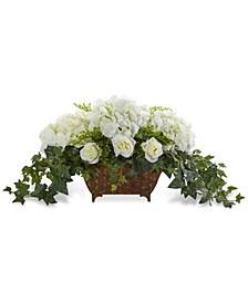 Hydrangea & Roses Artificial Arrangement in Decorative Metal Planter