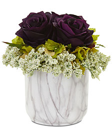 Nearly Natural Rose & Hydrangea Artificial Arrangement in Faux Marble Vase