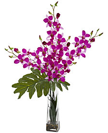 Nearly Natural Dendrobium Tropical Orchid Artificial Arrangement in Vase