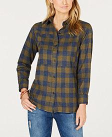 Hurley Juniors' Plaid Frayed-Hem Shirt