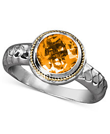 Balissima by EFFY Citrine Round Ring (1-5/8 ct. t.w) in Sterling Silver and 18k Gold