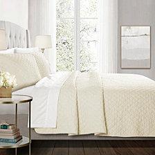 Ava Diamond Oversized Cotton 3-Piece King Quilt Set
