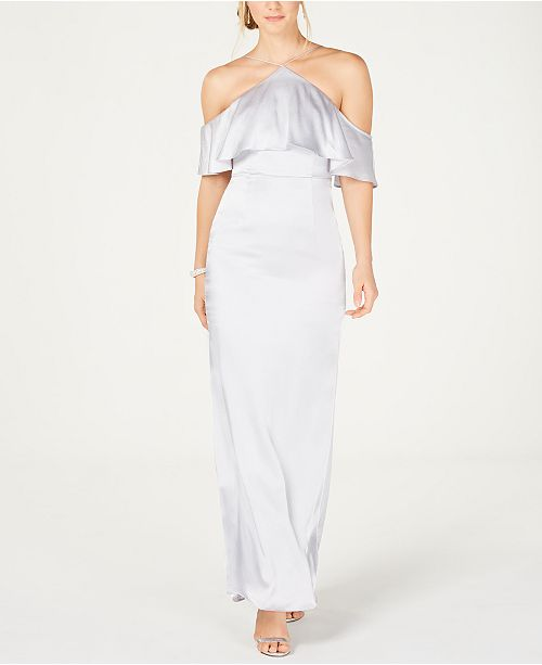 Adrianna Papell Satin Halter-Neck Cold-Shoulder Gown