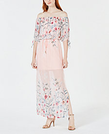 City Studios Juniors' Printed Off-The-Shoulder Maxi Dress