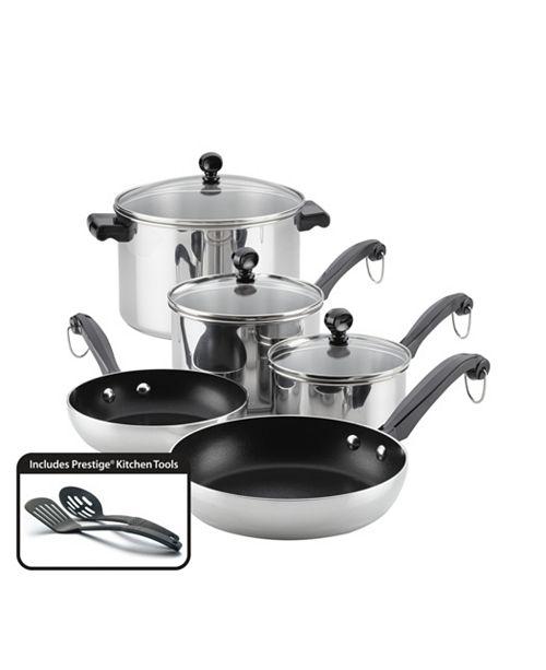 Farberware Classic Series Stainless Steel Nonstick 10-Piece Cookware Set
