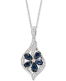 "Sapphire (1-3/8 ct. t.w.) & Diamond (1/5 ct. t.w.) Floral 18"" Pendant Necklace (Also in Tanzanite, Certified Ruby & Emerald)"