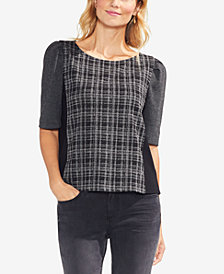 Vince Camuto Plaid-Bodice Colorblocked Top