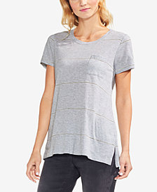 Vince Camuto Striped Pocketed T-Shirt