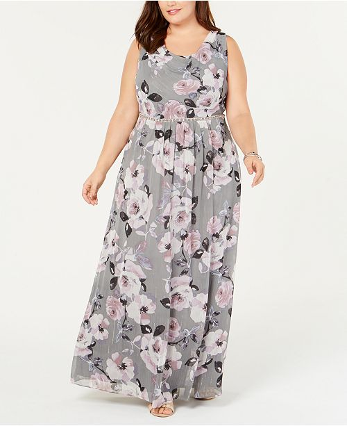 SL Fashions Plus Size Floral Maxi Gown & Reviews - Dresses ...