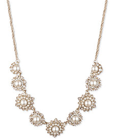 "Marchesa Gold-Tone Cubic Zirconia & Imitation Pearl Collar Necklace, 16"" + 3"" extender"
