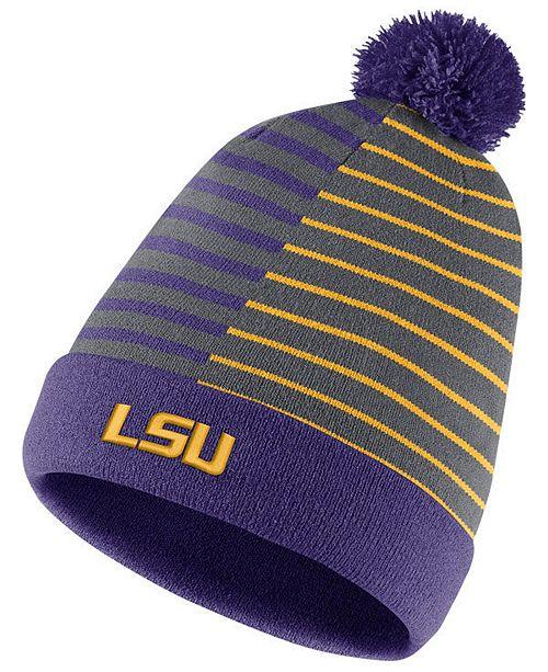 a09168795c593 Nike LSU Tigers Striped Beanie Knit Hat - Sports Fan Shop By Lids ...