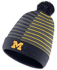 Nike Michigan Wolverines Striped Beanie Knit Hat