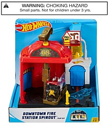City Downtown Fire Station Spinout Play Set