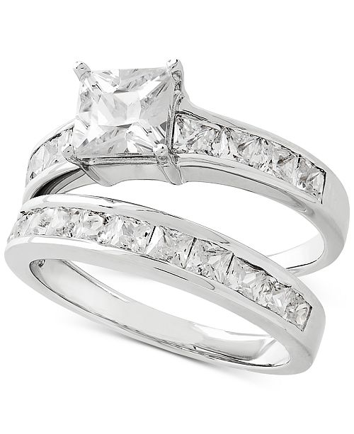 Sterling Silver Wedding Sets.Cubic Zirconia Bridal Set In Sterling Silver