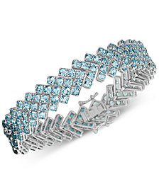 Blue Topaz Chevron Link Bracelet (12 ct. t.w.) in Sterling Silver