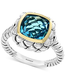 EFFY® Blue Topaz Statement Ring (4-3/4 ct. t.w.) Ring in Sterling Silver & 18k Gold