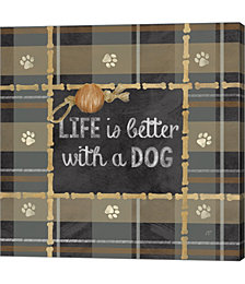 Dog Sentiment Plaid II by Cynthia Coulter Canvas Art