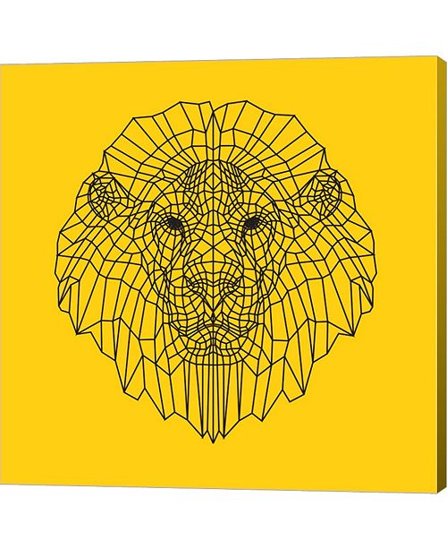 Metaverse Lion Head Yellow Mesh by Lisa Kroll Canvas Art