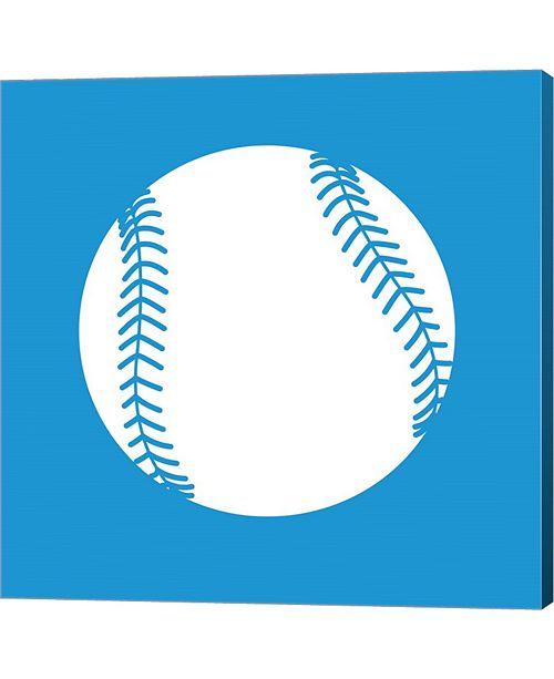 Metaverse White Softball on Blue by Sports Mania Canvas Art