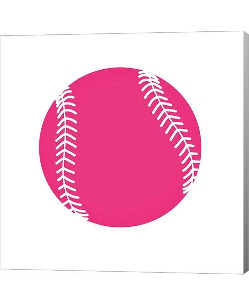 Metaverse Pink Softball on White by Sports Mania Canvas Art