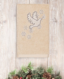 CLOSEOUT!  Linum Home Christmas Dove 100% Turkish Cotton Hand Towel