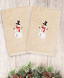 Linum Home Snowman 100% Turkish Cotton 2-Pc. Hand Towel Set