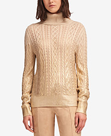DKNY Metallic-Detail Cable-Knit Turtleneck Sweater, Created for Macy's