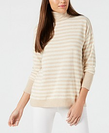 Cashmere Striped Turtleneck Sweater