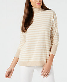 Calvin Klein Cashmere Striped Turtleneck Sweater