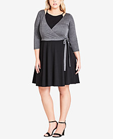 City Chic Trendy Plus Size Colorblocked Faux-Wrap Dress