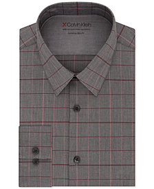 Calvin Klein X Men's Extra-Slim Fit Temperature Regulating Stretch Red & Gray Check Dress Shirt