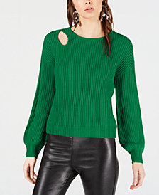 Bar III Balloon-Sleeve Cutout Sweater, Created for Macy's
