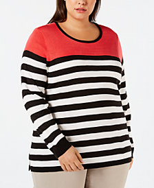 Calvin Klein Plus Size Colorblocked Striped Sweater