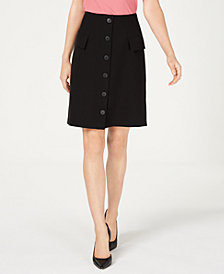 Nine West Button-Front Faux-Pocket A-Line Skirt